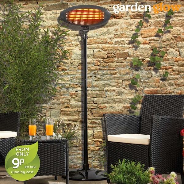 Garden Glow 2000w Floor Standing Patio Heater Black Independent Offers